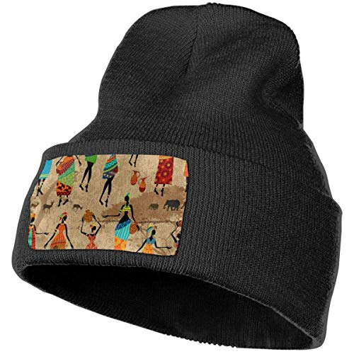 AEMAPE Vintage fondo con hermoso africano mujeres invierno gorro de punto suave gorro cálido gorro de punto para hombres mujeres calavera gorra