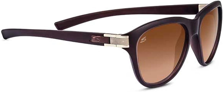 Serengeti Elba Premium Nylon Women's Sunglasses, Sanded Crystal Brown, Polarized Drivers Gradient