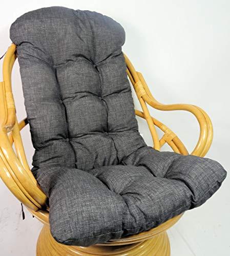 Rattani Auflage/Polster für Schaukelstuhl, Drehsessel, Ersatzpolster Gr. 135 x 60 x 15 cm, Nuevo Loneta anthazit - Made in EU