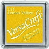 Tsukineko Almohadilla de Tinta pequeña Versacraft, Color Amarillo limón, Material sintético, Beige, 3.4 x 3.4 x 2 cm