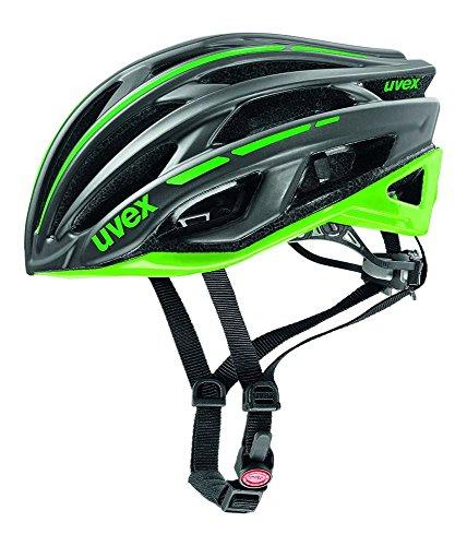 Uvex Erwachsene Race 5 Rennradhelm, darksilver/Green, 52-56