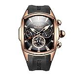 Reef Tiger Sport Watches for Men Rose Gold Tone Tourbillon Wrist Watches Rubber Strap RGA3069 (RGA3069-PBB)
