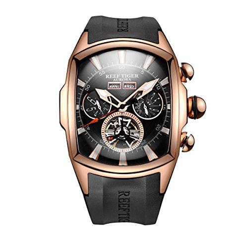 Reef Tiger 男性運動腕時計 ピンクゴールド トゥールビヨン 自動巻き 腕時計 RGA3069 (RGA3069-PBB)