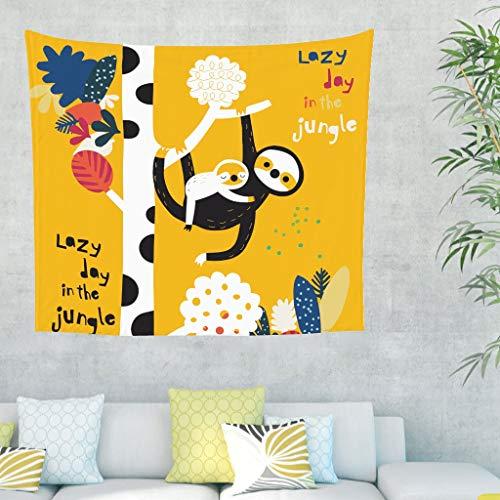 Faultier Baum Wandteppich mit Spruch Wandbehang Tuch Wandtuch Tapestry Tapisserie Wanddeko für Schlafzimmer Strandtuch Tischdecke Gelb 150x130cm