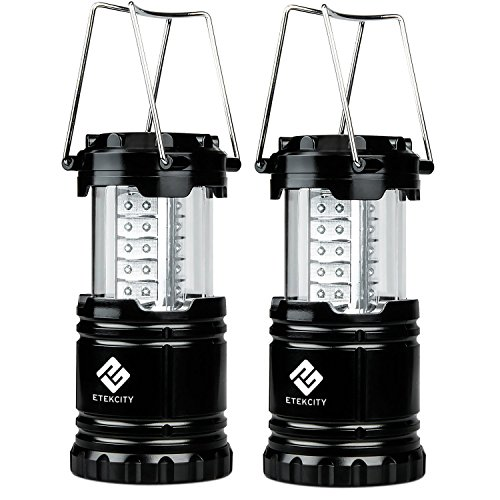 2 Pack Portable Outdoor LED Camping Lantern with 6 AA Batteries (Black, Collapsible)