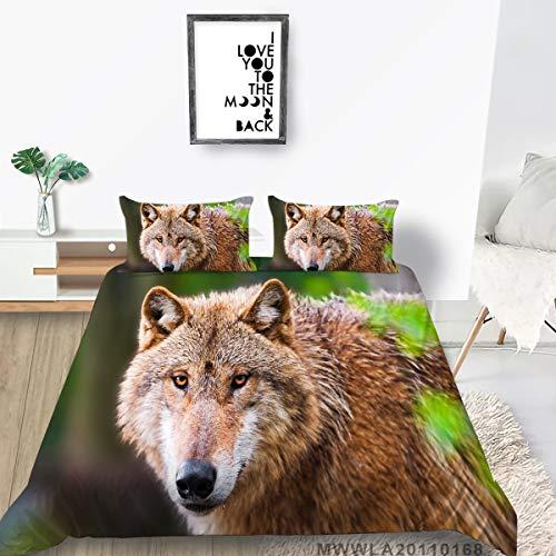 Ferocious Wolf Ropa de Cama Conjunto de Funda de Alta Gama Impresión 3D Funda de edredón Sistema Animal Serie Soft Transpirable Perculla Durable Cubiertas Doble (Color : 6, Size : Cama90)