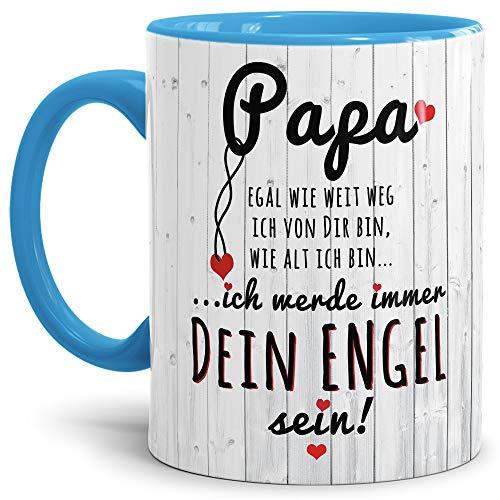 Lustige Tasse mit Spruch für Papa zum Vatertag - Immer Dein Engel - Kaffee-Tasse/Geschenk-Idee Väter/Vatertagsgeschenk/Geburtstag - Innen & Henkel Hellblau