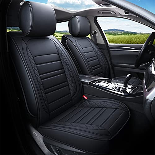 kyohans Car Seat Covers for Front Seats, Universal Leather Seat Cover for Cars Non-Slip Automotive Seat Covers Fit for Most Sedan SUV Truck (Front Seat, Black)
