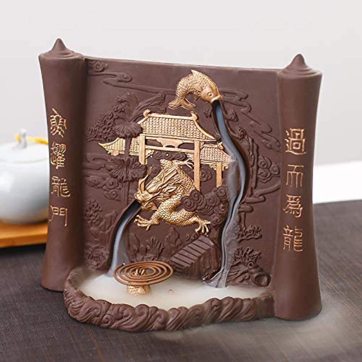 チェリー半円製油所PHILOGOD 香炉 陶器漢字彫刻レリーフ手作り逆流香炉 線香立て デュアルユース お香 ホルダー