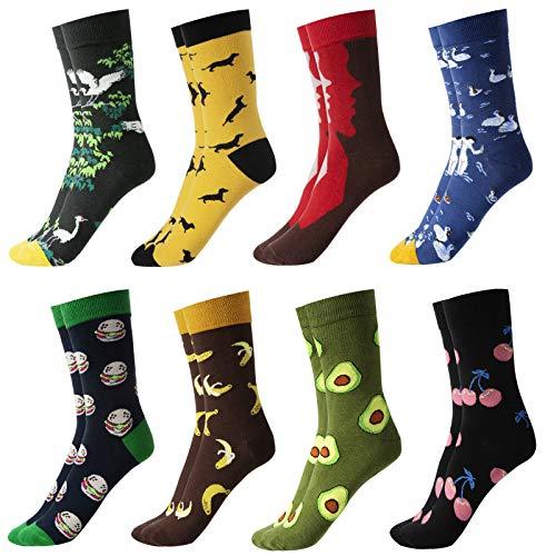 GuKKK Calcetines Estampados, 8 Pares Calcetines Hombres Mujer Divertidos, Calcetines Algodon Estampados Impresos de Pintura de Arte, Ocasionales Calcetines Divertidos, Calcetines de Colores (8-3)