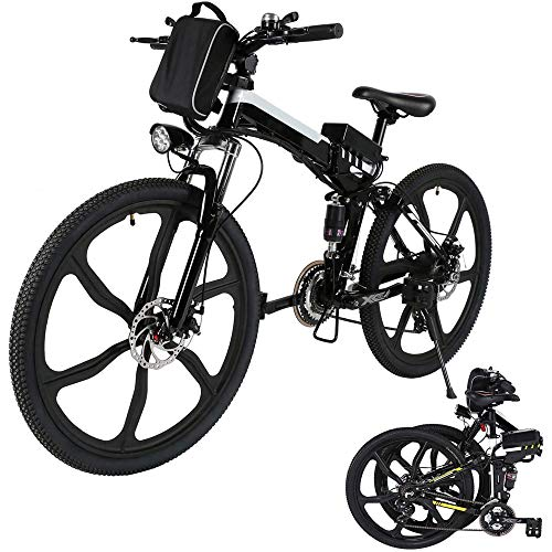 26'' Folding Electric Mountain Bike 250W Electric Bicycle with Removable Large Capacity Lithium-Ion Battery, Professional 21 Speed Gears (Black White)