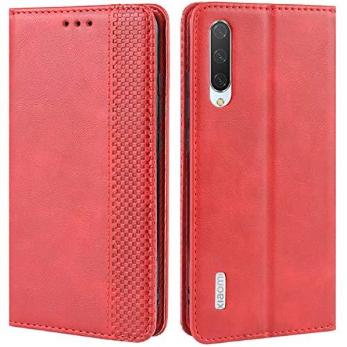 HualuBro Handyhülle für Xiaomi Mi A3 Hülle, Retro Leder Brieftasche Tasche Schutzhülle Handytasche LederHülle Flip Hülle Cover für Xiaomi Mi A3 - Rot