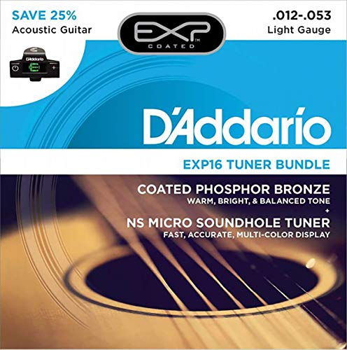 D 'Addario EXP16Beschichtete Phosphor Bronze Acoustic Gitarre Saiten, Light & NS Micro Schallloch Tuner Bundle