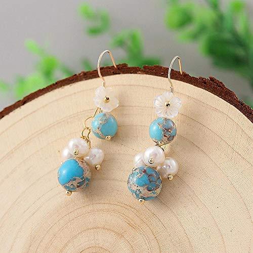 DJMJHG Pendientes de Perlas de Agua Dulce Reales para Mujer, Regalo, Pendientes de Gota de Gancho de Plata 925, Pendientes de Flores turquesas, joyería de Moda