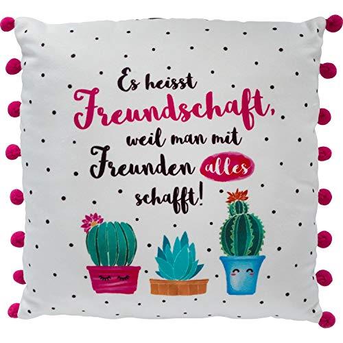 GRUSS & CO Die Geschenkewelt 46167 kleines Plüschkissen mit Motiv-Druck Es heisst Freundschaft, Kaktus-Design, mit rosa Pompoms, 25 cm x 25 cm Kissen, Polyester, Bunt