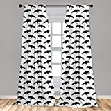 Lunarable Raven Curtains, Ink Drawn Style Black Birds Pattern of Wisdom Gothic Culture Inspiration, Window Treatments 2 Panel Set for Living Room Bedroom Decor, 56' x 95', White Charcoal