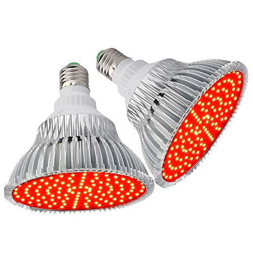 (Pack of 2) Byingo LED Grow Light Bulb - 50W (250W Equivalent) 660nm All Deep Red Spectrum - Aluminum Shell with Good Heat Dissipation - for Indoor Plants Flowering and Fruiting