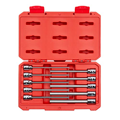 TEKTON 3/8 Inch Drive Long Hex Bit Socket Set, 10-Piece (3-10 mm) | SHB91302