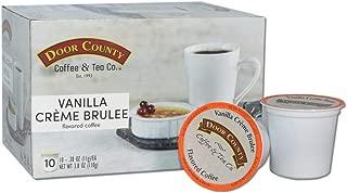 Door County Coffee, Single Serve Cups for Keurig Brewers, Vanilla Creme Brulee Flavored Coffee, Medium Roast, Ground Coffee, 10 Count