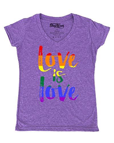 Love is Love Women's V-Neck T-Shirt Gay Pride Shirts Medium Heather Purple0