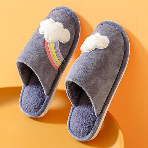Zapatillas de casa para hombres Cálidas y acogedoras,Calientes zapatos de algodón de suela gruesa, lindas pantuflas antideslizantes-2 azul gris _39-40,zapatos de casa antideslizantes de algodón lavab