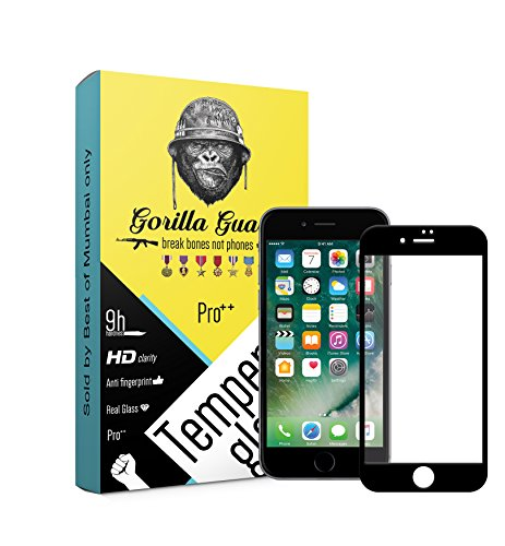 Gorilla Guard PRO++ Series HD+ Bezel 10H Hardness Oleophobic UV Protect 2.5D Rounded Edges Neo Coated 5D Tempered Glass Screen Protector Installation Kit for Apple iPhone (Black, 7 4.7-inch)