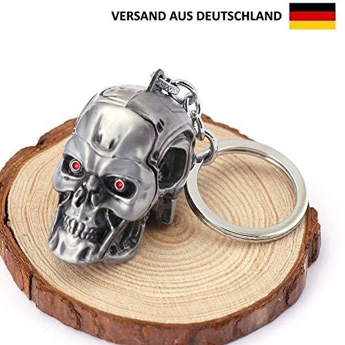 WB Terminator T-800 Schädel Figur Metall Schlüsselanhänger