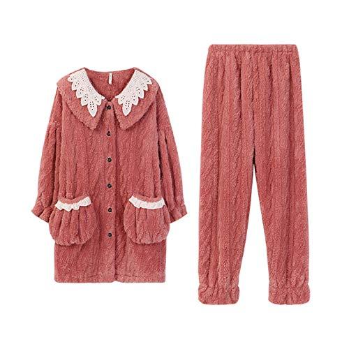 RHSML Conjunto de Pijama de Felpa Polar para Mujer, Ropa Deportiva, Jersey de Manga Larga Pantalones de chándal Pijamas con Capucha Ropa y Bonita Conjunto de Dos Piezas(M, A)