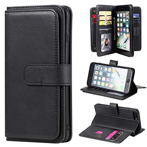 Für iPhone 6S Plus (5.5 Zoll) Hülle, iPhone 8 Plus/7 Plus/iPhone 6 Plus 10 Kartensteckplätze - ID Steckplatz, Multifunktionale Brieftaschenhülle Folio PU Ledertasche Hülle mit Magnethülle - Schwarz