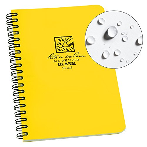 """Price comparison product image Rite in the Rain All-Weather Side-Spiral Notebook,  4 5 / 8"""" x 7"""",  Yellow Cover,  Blank Pattern (No. 333)"""