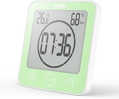 ANDE Reloj Temporizador Baño,Ventosa Digital Relojes de Pared Humedad Temperatura con Gran Pantalla LCD