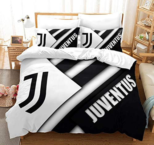 Wusan Juventus 3Pieces Full Size Bed Cover Set,3D Print Football Juventus Bed Cover with Zipper Closure Hypoallergenic Microfiber Soft (1 Duvet Cover + 2 Pillowcases)