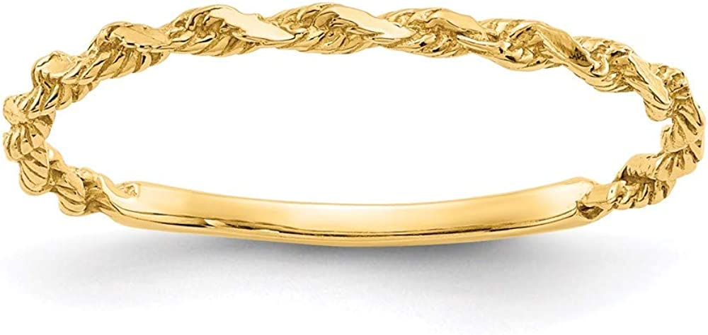 14k Yellow Gold Textured Rope Wedding Ring Band Size 6.00 Fine Jewelry For Women Gifts For Her