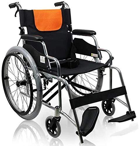 Cisooczg Einfache und praktische Art und Weise Faltrollstuhl Transport, die Lagerung und Aluminium, adult Rollstuhls Beinauflage angehoben werden kann, bequeme Übertragung der Sitz 47cm cisooczg