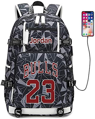 Backpack Male Female basketball player star Michael Jordan multi-functional backpack travel student backpack fan book bag theshyuk (Color : Style 7)