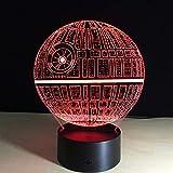 Lámpara de ilusión óptica LED Luz de noche 3D Star Wars Death Star, Decoración del hogar, Acrílico, Regalo para niña, E - Base para despertador (7 colores)
