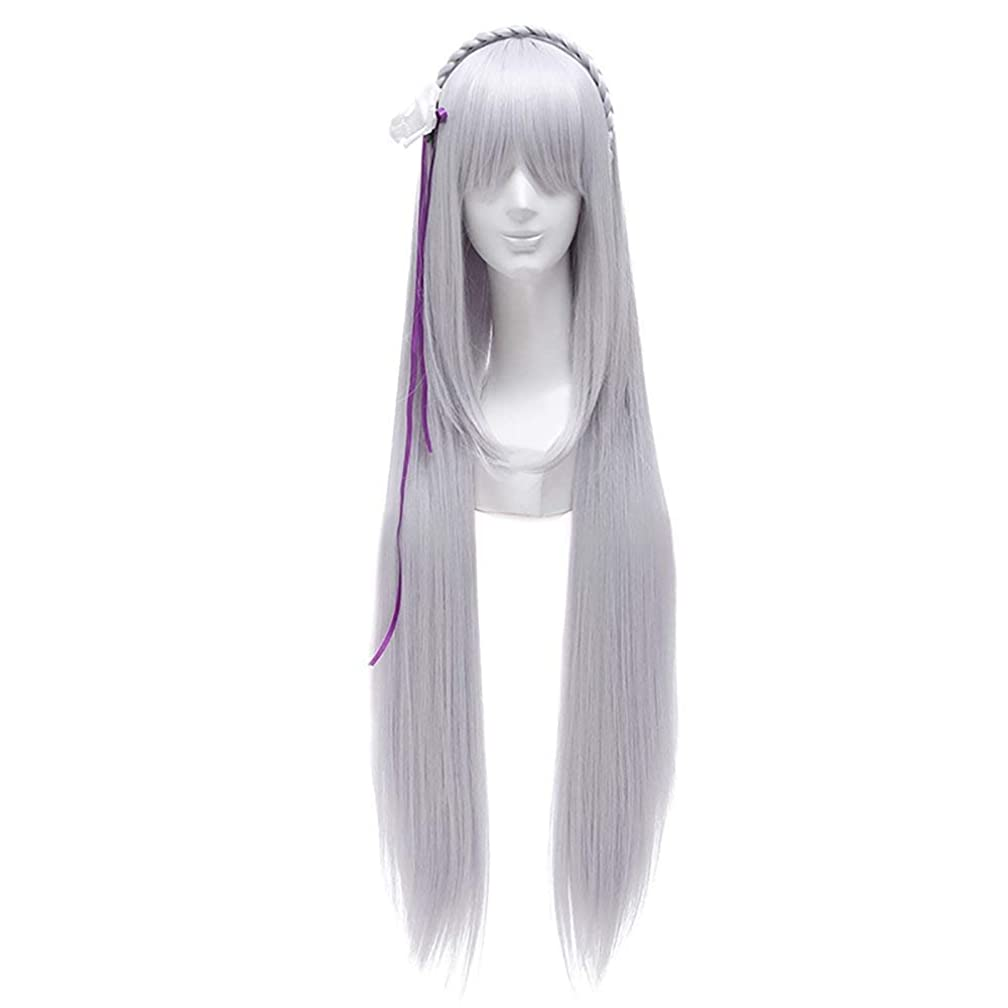 New!! Re:Life In A Different World From Zero Emilia Cosplay Wig Silver White Long Anime Wigs Women Costume Hair With Braid