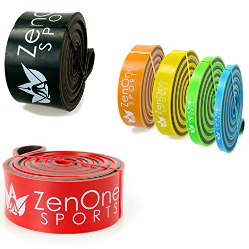 ZenBands Power Resistance Bänder Set, 6 Fitnessbänder in versch. Stärken, Widerstandsbänder für Training Zuhause, Klimmzugband, inkl. E-Book & Workout-Guide (X-Heavy)