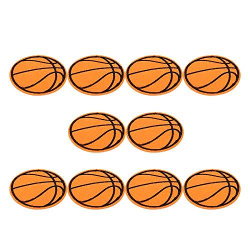 Parche de planchado bordado de fútbol de 10 piezas, insignias de aplicación, pelota de tenis de mesa de Rugby de baloncesto, parche de tela de costura DIY(Baloncesto)