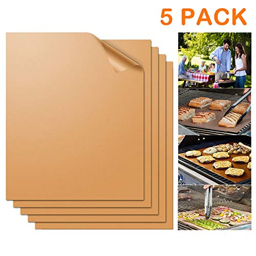 QTECLOR Non-Stick BBQ Grill Mesh Mat - Reusable Copper Grill Mats, Heavy Duty & Easy to Clean - Works on Electric Grill, Gas, Charcoal BBQ for Outdoor Grill - 16 x 13Inch, 5Pack Floor Grill Mats Pads