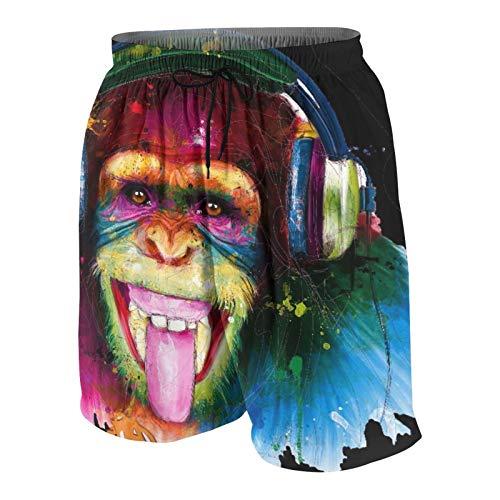 Nongmei Pantalones de Playa para Adolescentes,Auriculares Coloridos orangután,Ropa de Playa Trajes de baño Shorts de Playa S