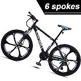 Las bicicletas de carretera híbridas for hombres y mujeres, 26 '' Suspensión Tenedor de acero al carbono hardtail bicicleta de montaña, 6 ruedas de radios carril bici con frenos de disco, Blanco, 27 d