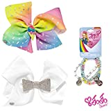 Jojo Siwa Girl's Bow Set 2 Bows and 3 Pack of Bracelets - Rainbow Sprinkles Ice Cream Cone Keeper, White Rhinestone Bow Keeper