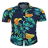 LSSM Camisa Estampada Casual De Manga Corta para Hombre De Verano Camisas Standard-Fit Short-Sleeve Shirt - Button-Down-Shirts Funky Camisa Hawaiana SeñOres C905 4XL