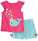 Bummex Baby Girls Summer Outfit Clothes Cotton Whale Print Top and Shorts Clothing Set 2t Raspberry