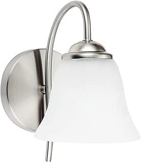 OSTWIN 1-Light Bath Bar Light Up or Down, Interior Bathroom Vanity Wall Lighting Fixture VF41, 1x60 Watt E26 Socket, Satin Nickel Finish with Alabaster Bell Glass Shade UL Listed