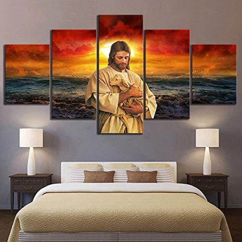 WLKJ Boutique Stampe e Quadri su Tela 5 Pezzi Religiosi Gesù Poster Moderni Quadri Dipinti Stampa opere d'Arte da Parete Immagine modulare per Soggiorno @ 30X40_30X60_30X80Cm_No_Frame