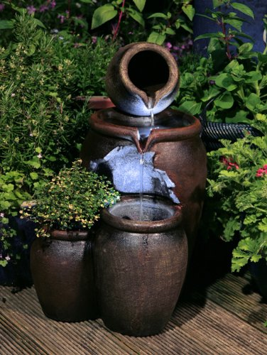 50cm Earthenware Honey Pot 3-Tier Water Feature and Planter with LED Lights...