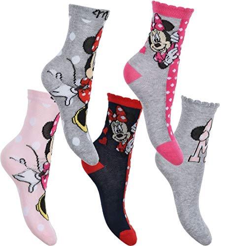 5 Paar Disney Minnie Maus Frozen Prinzessin Original Mädchen Crew Standard Größe Baumwolle reichen Socken Set 5er Pack 70% Baumwolle – 6 Kinder – 2 UK Größe Gr. 23/26 EU, 5er Pack