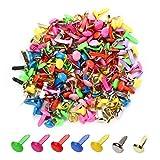 moinkerin 200 Piezas Mini Brads, Encuadernadores Redondos de Metal 4, 5mm x 8mm Multicolor para Papel Decoración Herramienta de Scrapbooking DIY